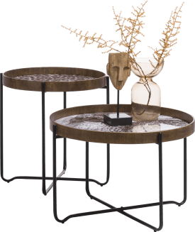 set de 2 table d'appoint leopard - marron