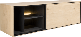 lowboard 150 cm. - hang + 2-deuren + 3-niches + led