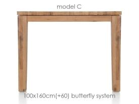 uitschuiftafel 160 (+ 60) x 100 cm - cor