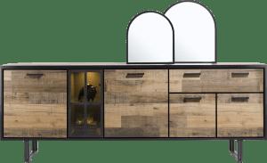 dressoir 230 cm. - 4-deuren + 1-lade + 1-glasdeur (+ led)