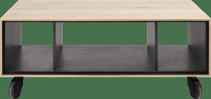 salontafel 60 x 90 cm. + 3-niches - met zwarte wielen & extra set poten