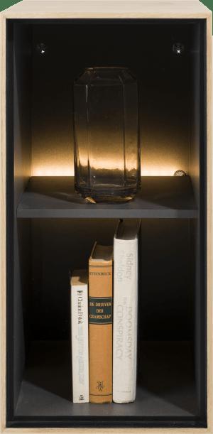 box 60 x 30 cm. - bois - a suspendre + 2-niches + led