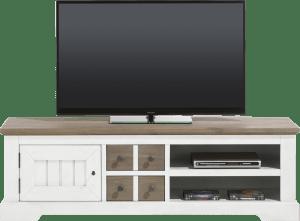 meuble tv 160 cm - 1-porte + 2-tiroirs + 2-niches