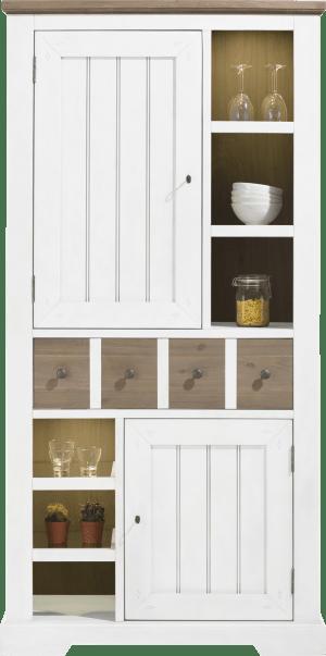armoire 100 cm - 2-portes + 1-tiroir + 6-niches (+ led)