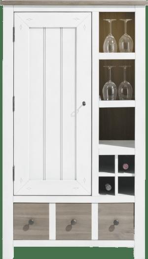 armoire 1-porte + 1-tiroir + 3-niches +4-niches a bouteilles(+led)