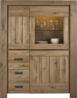 armoire 1-porte en verre + 2-portes + 2-tiroirs (+ bande led)