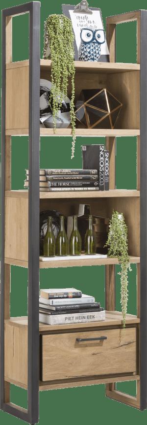 boekenkast 65 cm - 1-lade + 5-niches