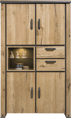 armoire 120 cm - 4-portes + 2-tiroirs + 2-niches (+ led)