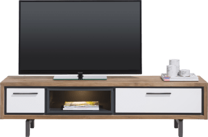 meuble tv 170 cm - 1-tiroir + 1-porte rabattante + 1-niche ( +led)
