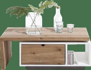table basse 120 x 60 cm + 1-tiroir t&t + 1-niche + plateau pivotante