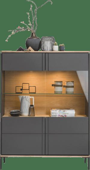 vitrinekast smal 110 cm - 2-glasdeuren (+ led)