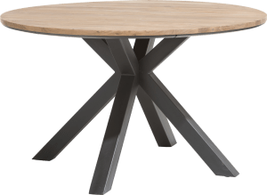 table ronde 130 cm - chene massif + mdf