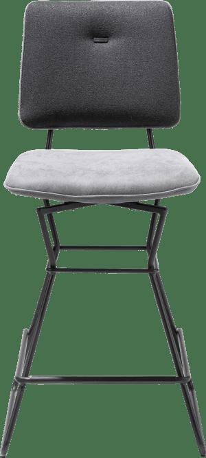 chaise bar - cadre noir - combi kibo anthracite / lady avec passepoil kibo anthracite