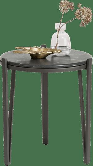 bijzettafel rond - diameter 40 cm - zwart marmer
