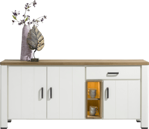 dressoir 190 cm - 3-deuren + 1-lade + 2-niches (+ led)