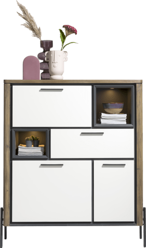 highboard 125 cm - 2-deuren + 1-lade + 1-klep + 2-niches (+ led)