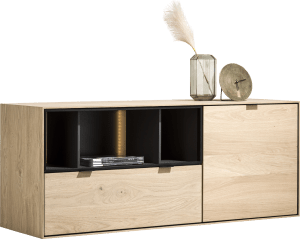 dressoir 150 cm. - 1-deur + 1-lade + 3-niches + led