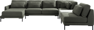 Longchair links - 2,5 Sitzer ohne Armlehne - Eckteil - Hocker klein - 1 Sitz XL ohne Armlehne