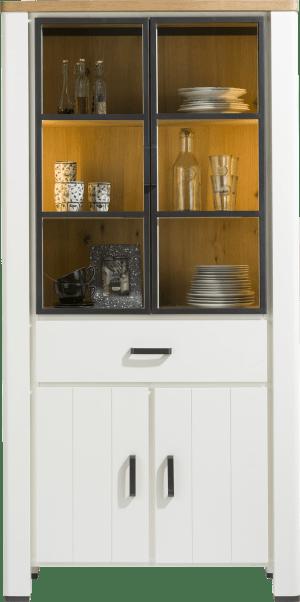 vitrine 100 cm - 2-glasdeuren + 2-deuren + 1-lade (+ led)