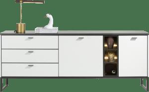 sideboard 200 cm - 2-tueren + 3-laden + 3-nischen (+ led)