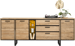 dressoir 240 cm - 3-deuren + 3-laden + 3-niches + led