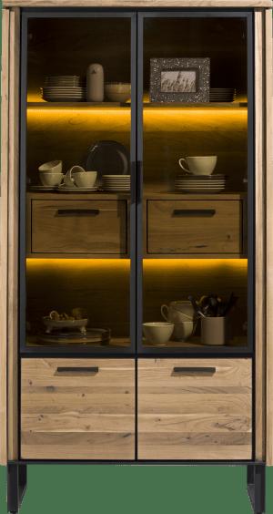 vitrine 100 cm - 2-glasdeuren + 2-deuren + 2-laden + led