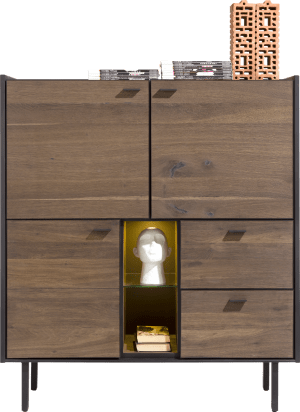 highboard 120 cm. - 3-portes + 2-tiroirs + 2-niches