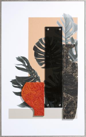 seventies orange schilderij 50x80cm