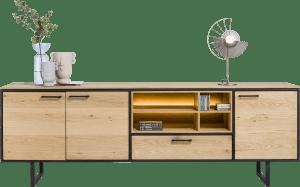 dressoir 240 cm - 3-deuren + 1-lade + 4-niches (+ led)