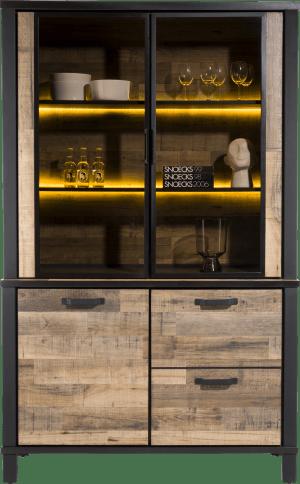 buffet 130 cm. - 2-deuren + 2-glasdeuren (+ led)