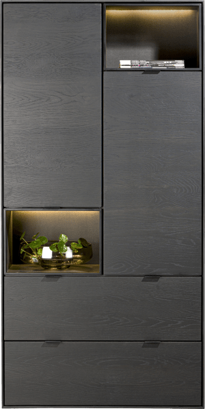 armoire 90 cm. - 2-portes + 2-tiroirs + 2-niches + led
