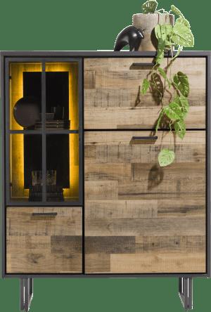 highboard 120 cm. - 2-deuren + 1-glasdeur + 1-klep (+ led)