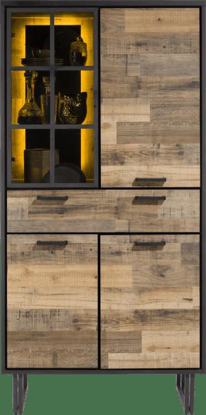 bergkast 96 cm. - 3-deuren + 1-lade + 1-glasdeur (+ led)