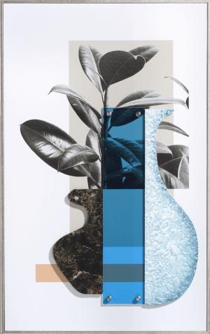 seventies blue schilderij 50x80cm