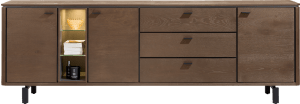 dressoir 240 cm. - 3-deuren + 3-laden + 3-niches
