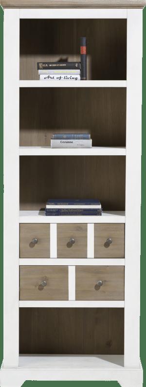 boekenkast 75 cm - 2-laden + 4-niches