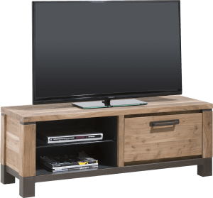 meuble tv 130 cm - 1-porte rabattante + 2-niches