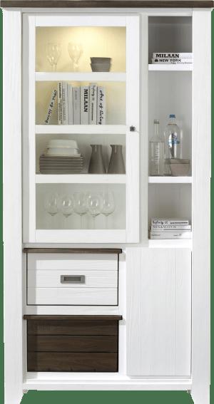 vitrine hoog 1-glasdeur + 1-deur + 2-boxen + 3-niches