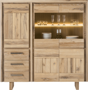 highboard 150 cm - 3-tueren + 2-glastueren + 3-laden - holz (+ led)