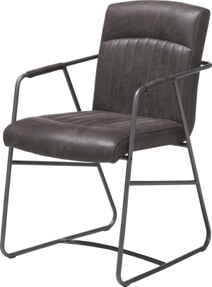 armstoel - metalen frame antraciet - corsica leder