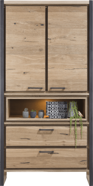 armoire 2-portes + 2-tiroirs + 1-niche (+ led)