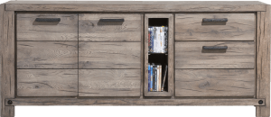 dressoir 190 cm - 2-deuren + 2-laden + 2-niches (+ led-spot)