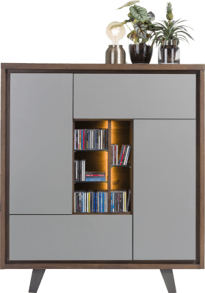 armoire 125 cm 2-portes +1-tiroir +1-porte rabattante +5-niches (+led)