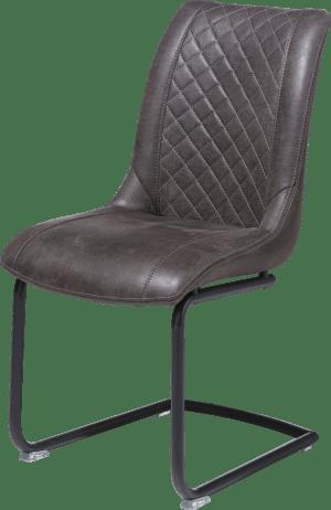 chaise + poignee ronde - cadre off black - tissu secillia