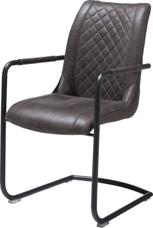 armstoel + greep rond - off black frame - stof secillia
