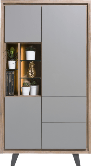 armoire 110 cm - 3-portes + 2-tiroirs + 5-niches (+ led)