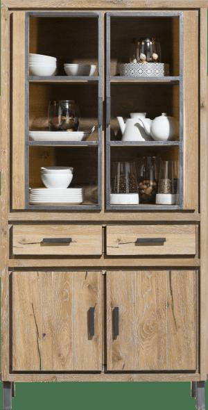 vitrine 100 cm - 2-glasdeuren + 2-deuren + 2-laden (+ led)