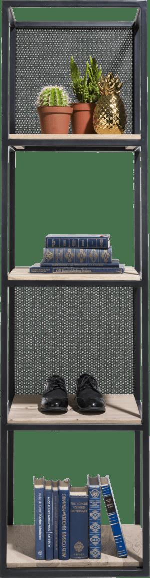rek 4-niches +4-legplanken +2 verplaatsbare metalen panelen-171 cm