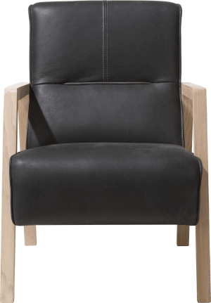 fauteuil met houten arm vintage clay / white / black