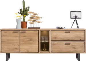 dressoir 210 cm - 2-deuren + 2-laden + 2-niches (+led)